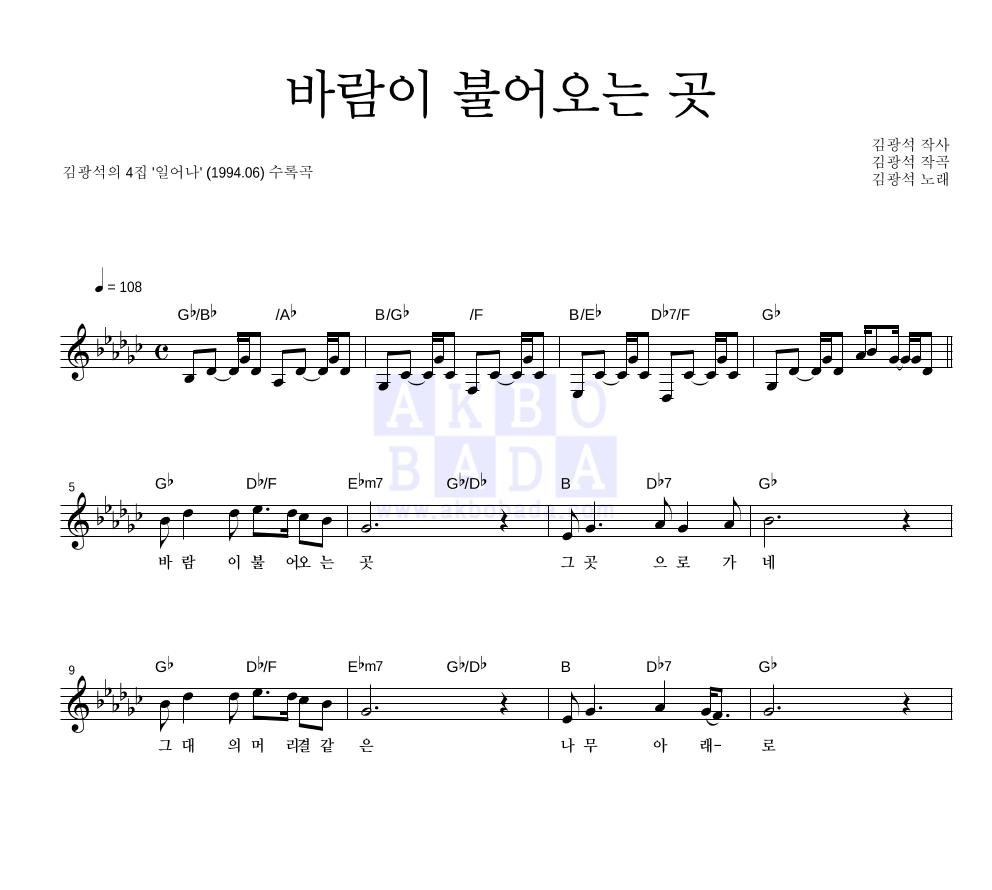 김광석 - 바람이 불어오는 곳  악보