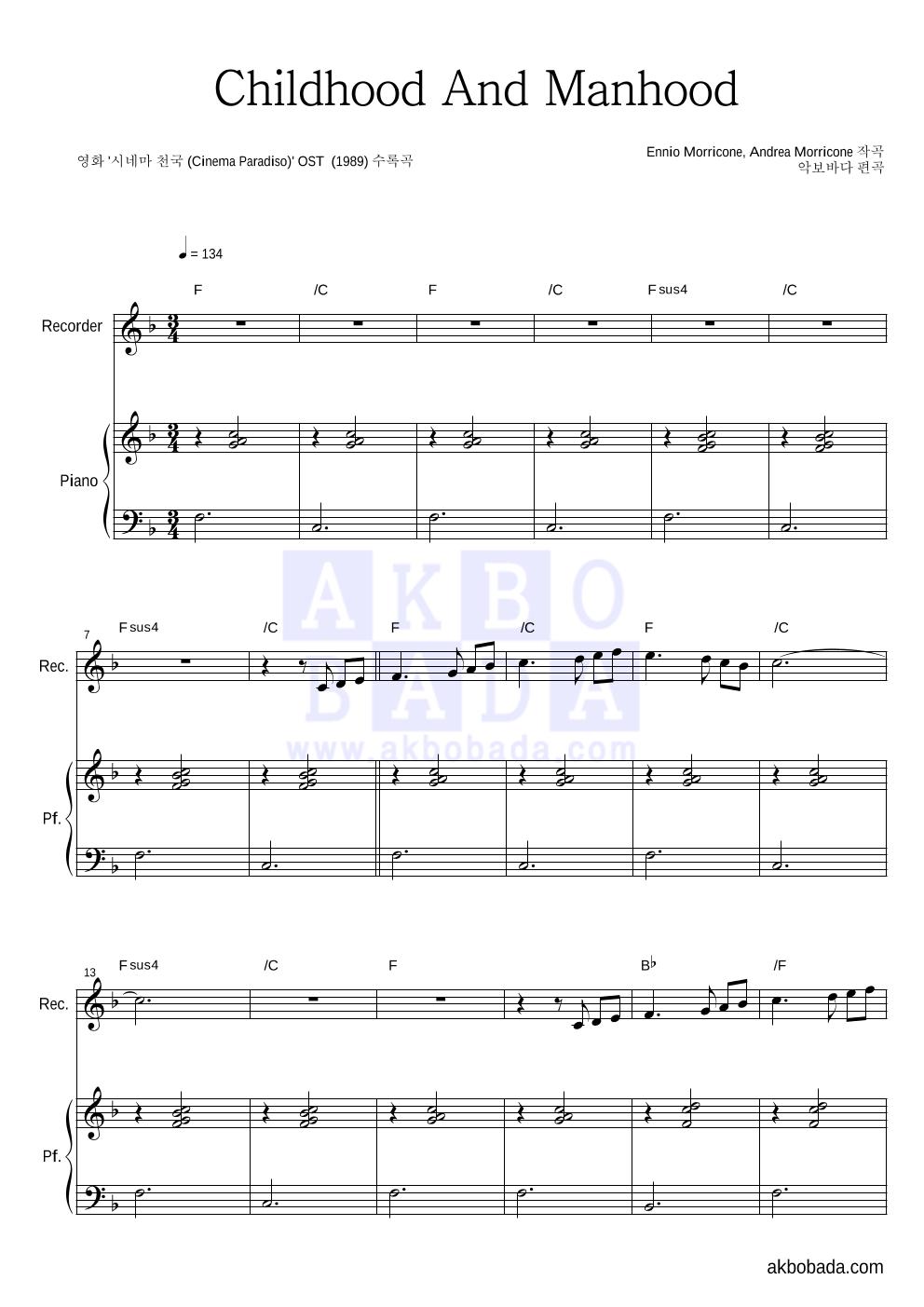 Ennio Morricone - Childhood And Manhood  악보