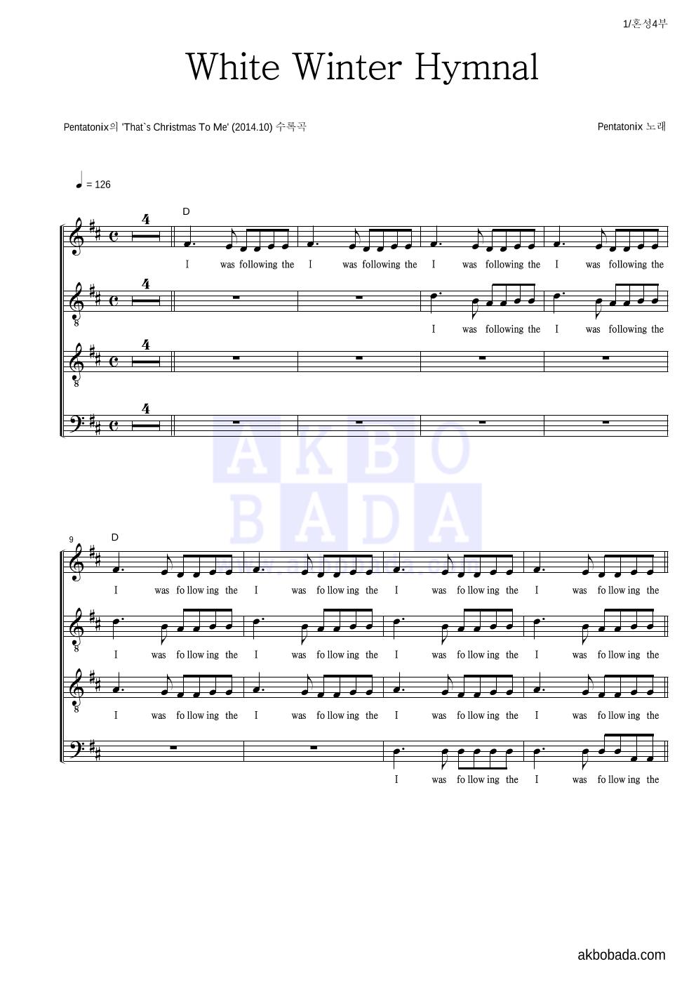 Pentatonix - White Winter Hymnal  악보