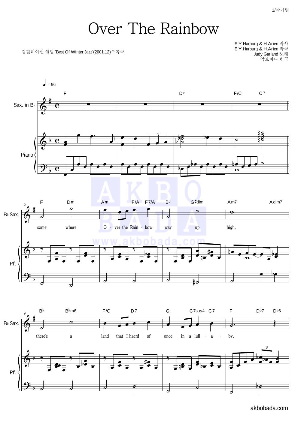 Judy Garland - Over The Rainbow (Best Of Winter Jazz Ver.)  악보