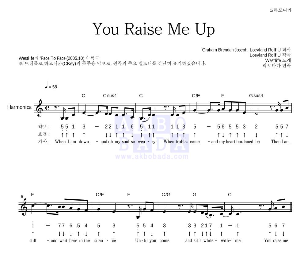 Westlife - You Raise Me Up 하모니카 악보