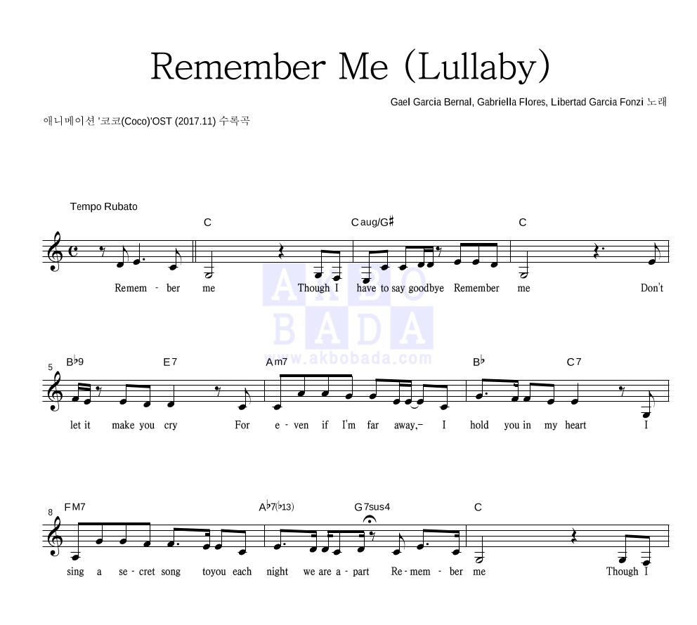 Gael Garcia Bernal,Gabriella Flores,Libertad Garcia Fonzi - Remember Me (Lullaby) 멜로디 악보