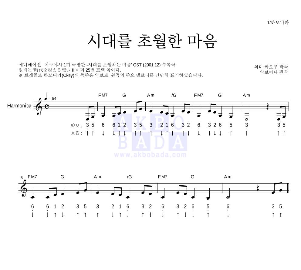 이누야사 OST - 시대를 초월한 마음 하모니카 악보