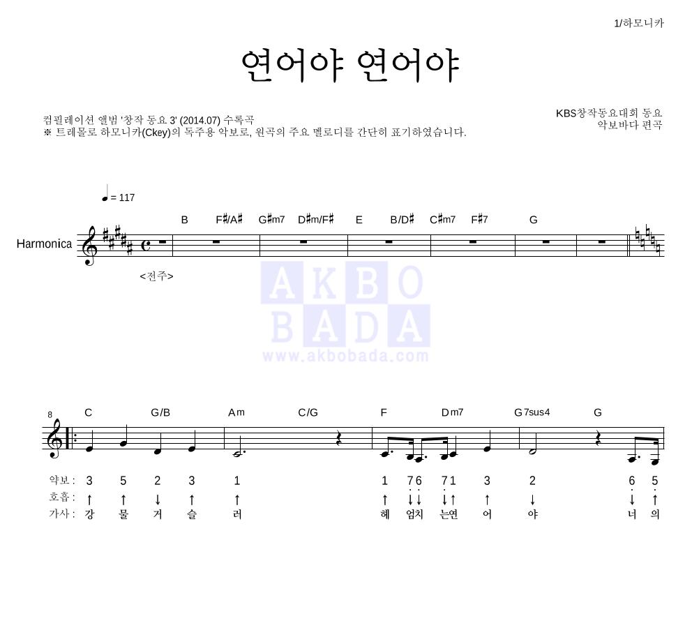 동요대회 - 연어야 연어야 (KBS창작동요대회)  악보