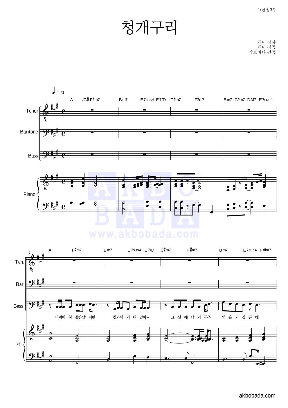 합창 - 청개구리 (김보경)  악보
