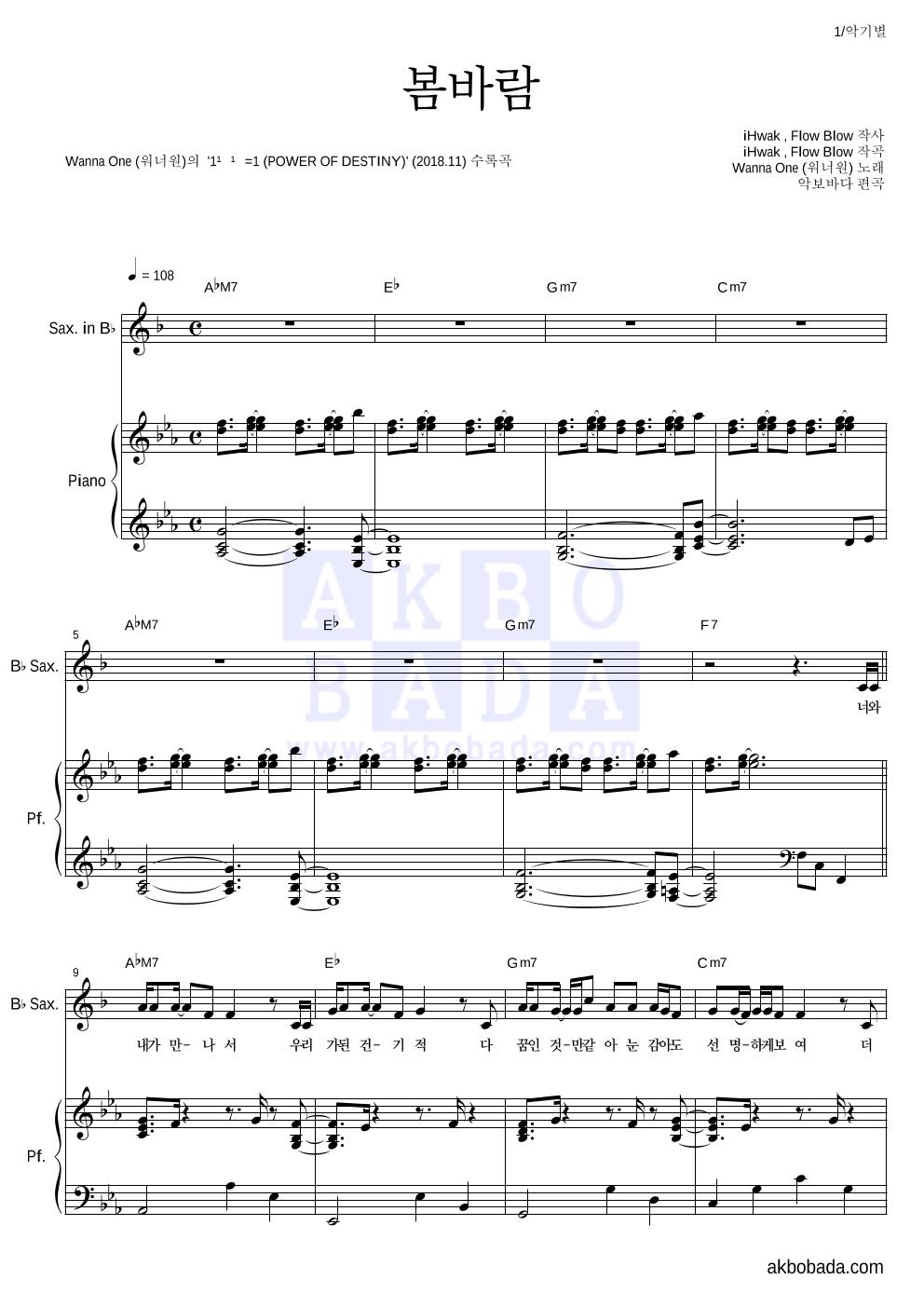 워너원 - 봄바람  악보