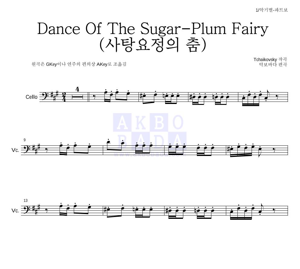차이코프스키 - Dance Of The Sugar-Plum Fairy (사탕요정의 춤) 첼로 파트보 악보