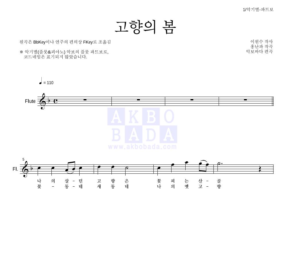동요 - 고향의 봄 플룻 파트보 악보