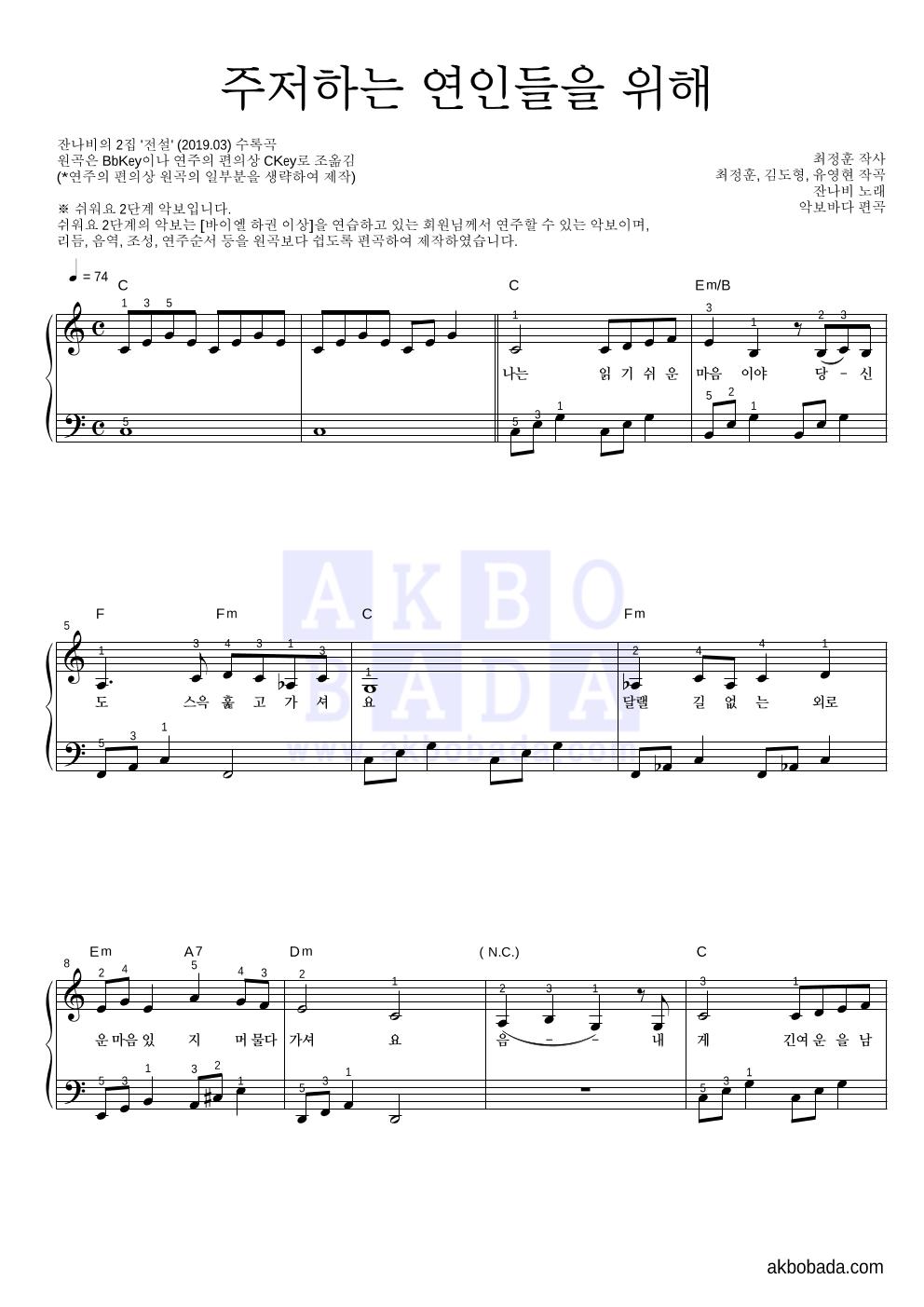 잔나비 - 주저하는 연인들을 위해 피아노2단-쉬워요 악보