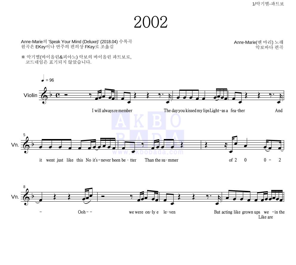Anne-Marie - 2002  악보