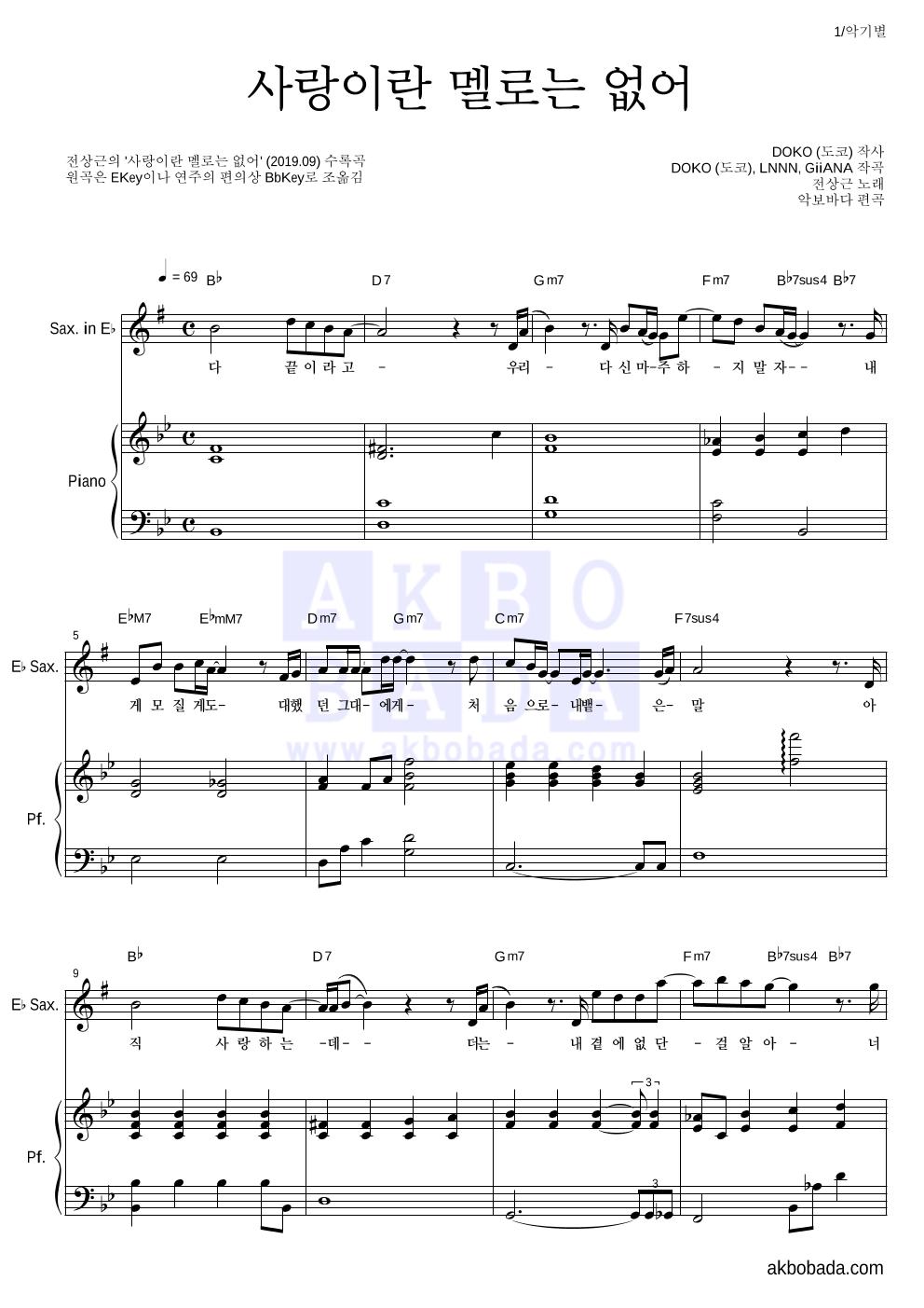 전상근 - 사랑이란 멜로는 없어 Eb색소폰&피아노 악보