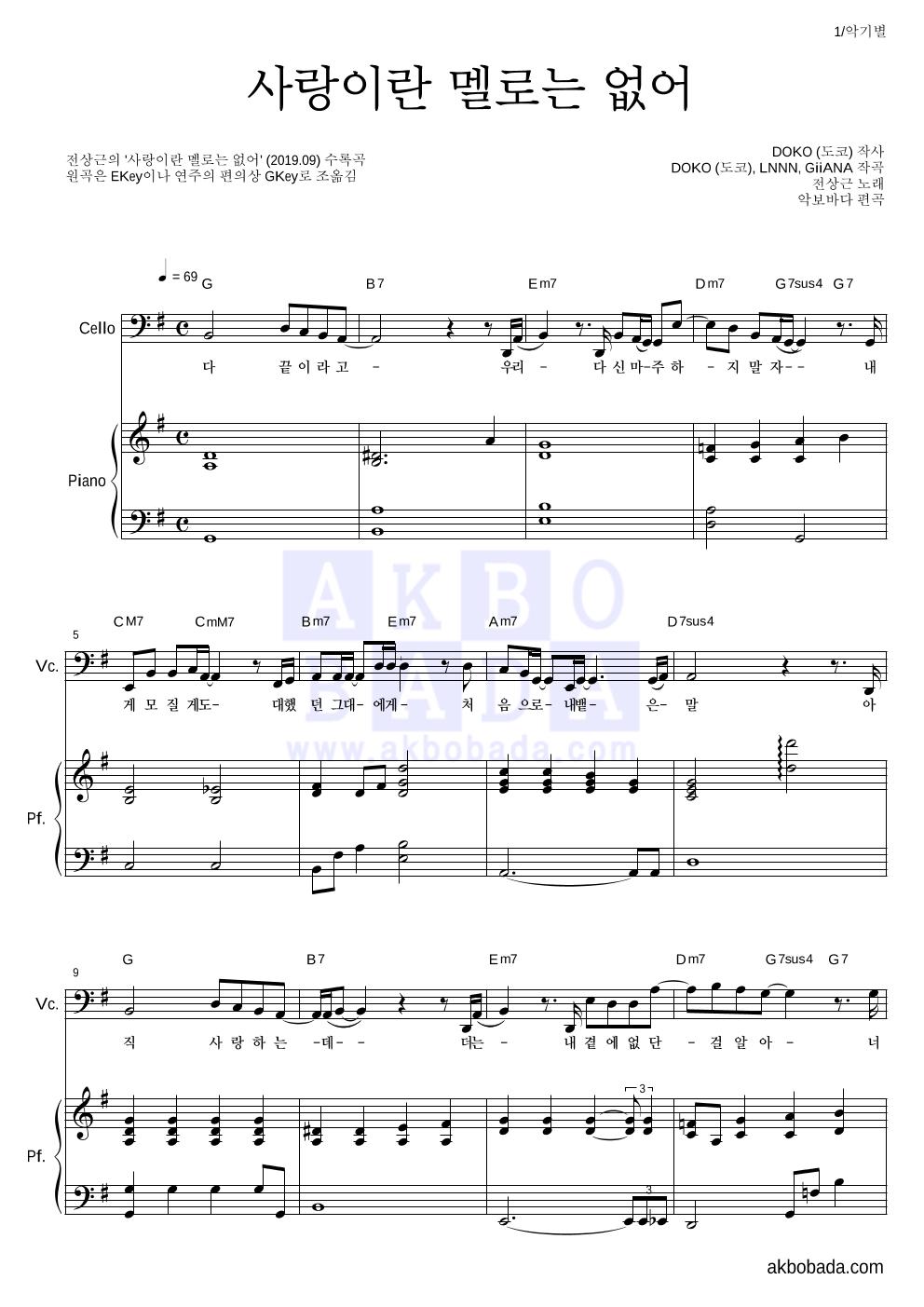 전상근 - 사랑이란 멜로는 없어 첼로&피아노 악보