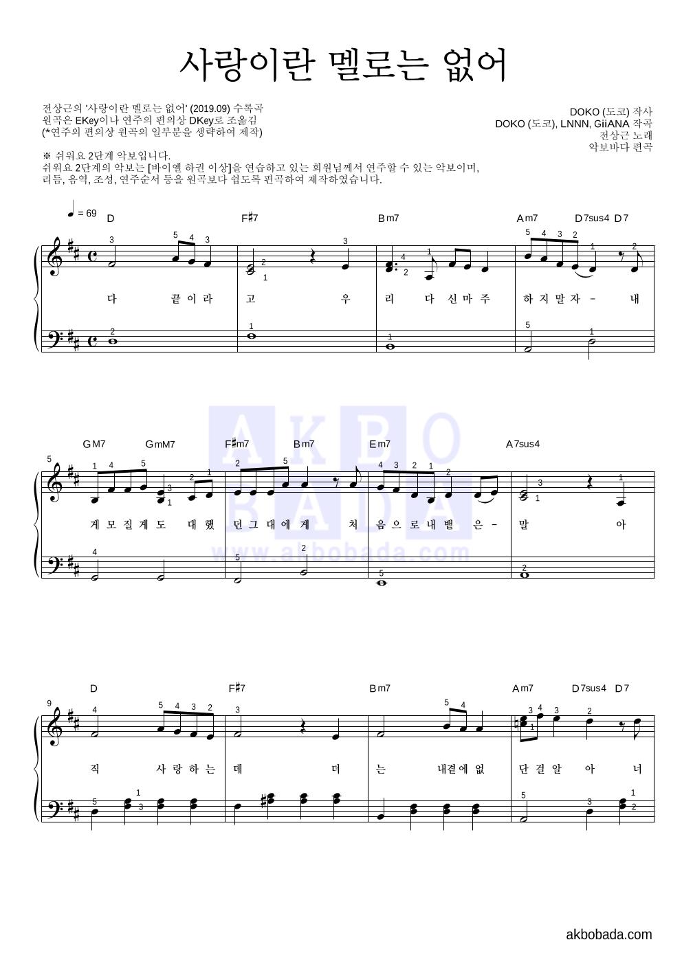 전상근 - 사랑이란 멜로는 없어 피아노2단-쉬워요 악보