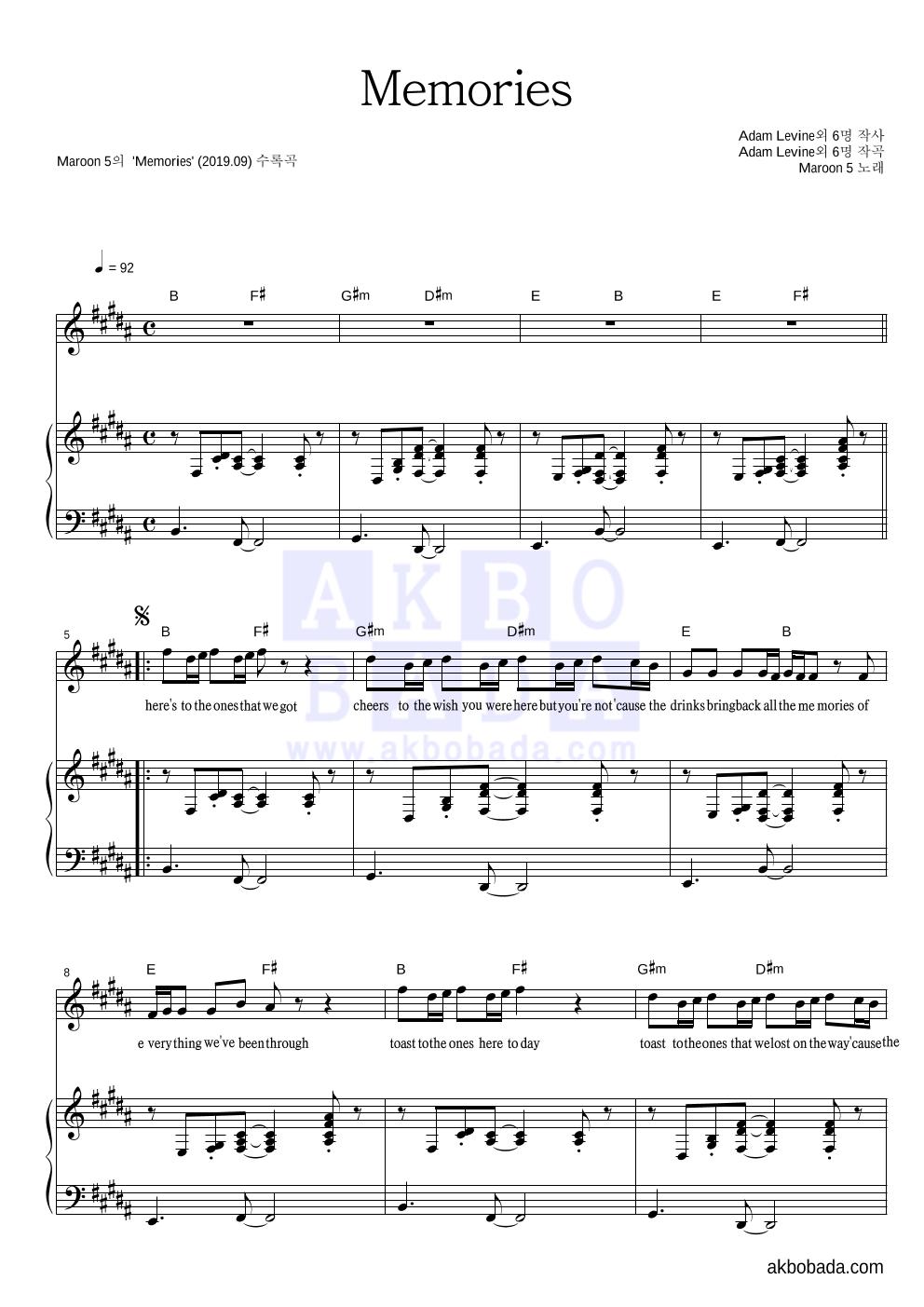 Maroon5 - Memories 피아노 3단 악보