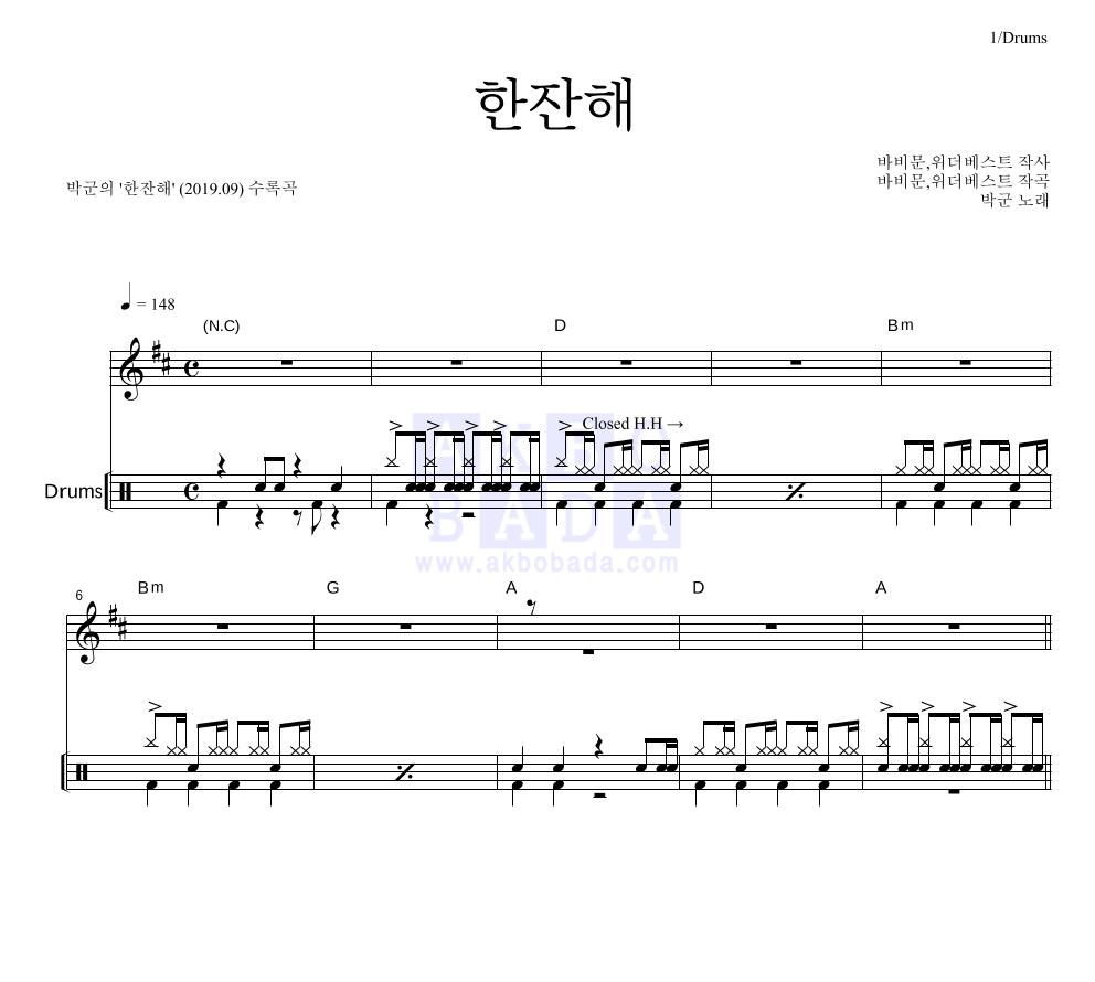 박군 - 한잔해 드럼 악보