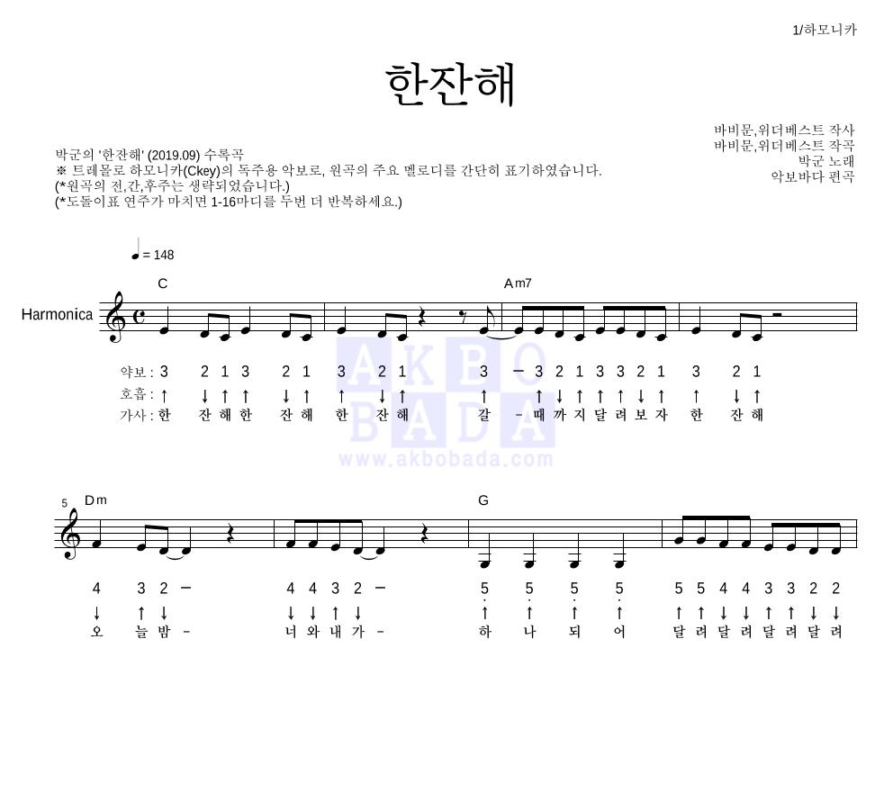 박군 - 한잔해 하모니카 악보