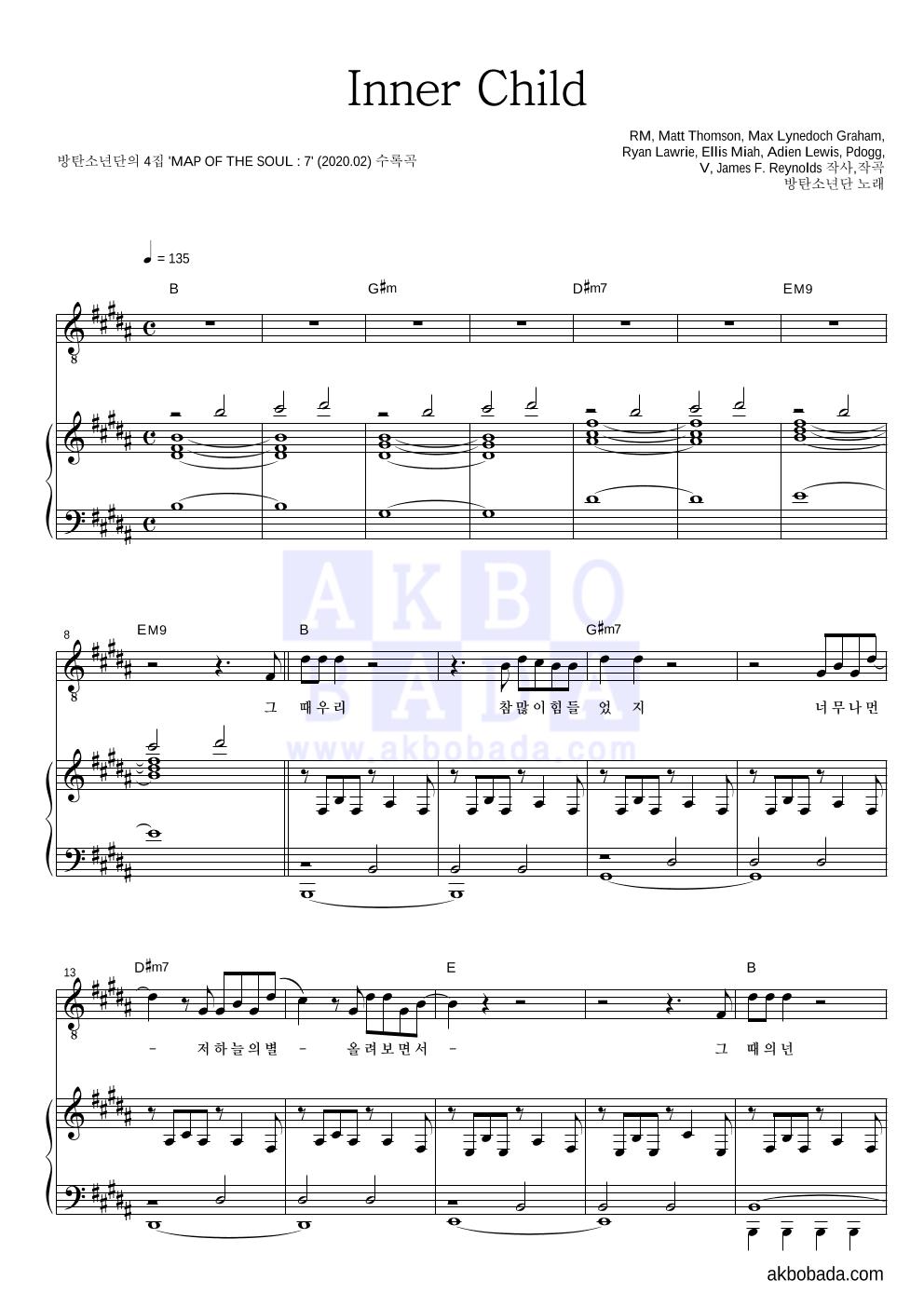 방탄소년단 - Inner Child 피아노 3단 악보