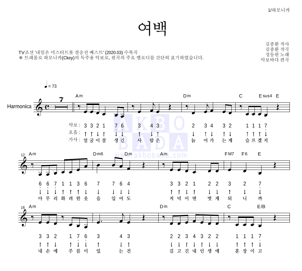 정동원 - 여백 하모니카 악보