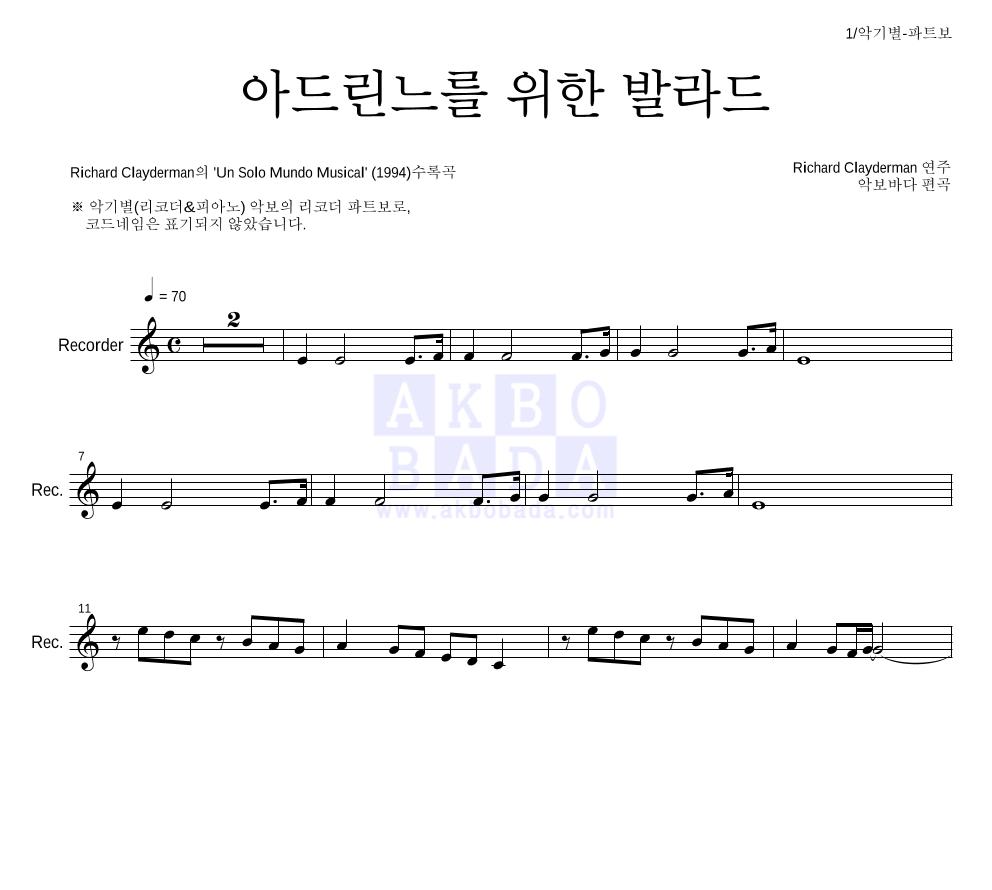 Richard Clayderman  - 아드린느를 위한 발라드  악보