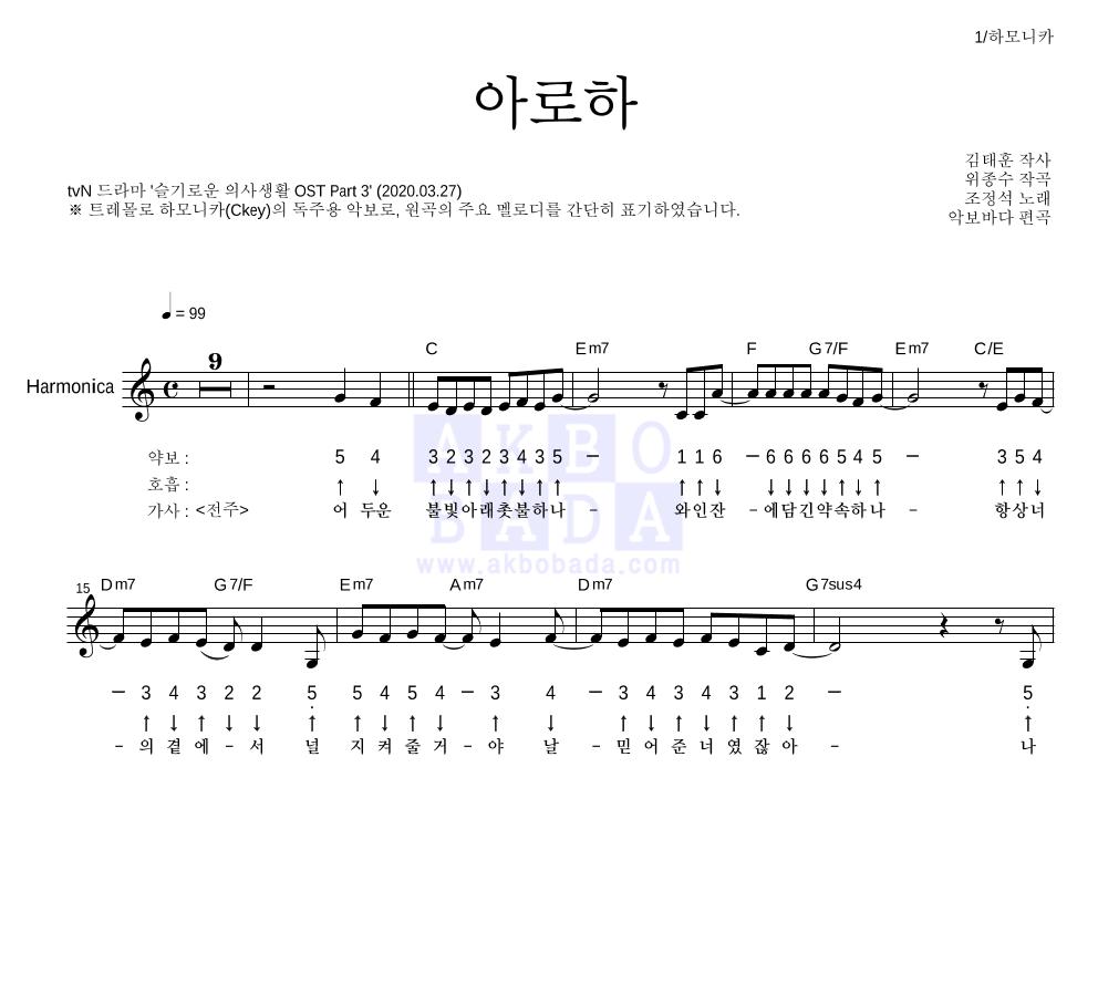 조정석 - 아로하 하모니카 악보