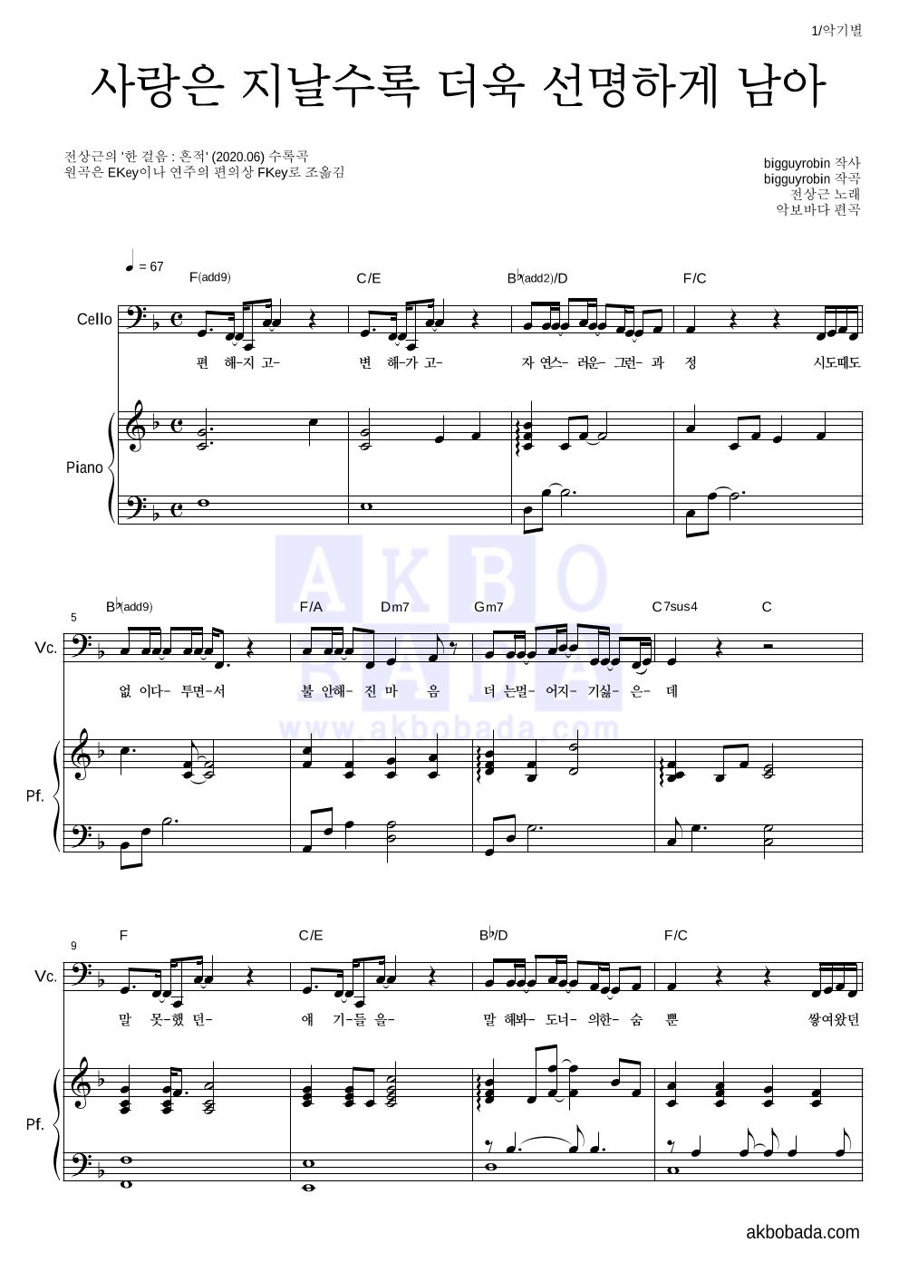 전상근 - 사랑은 지날수록 더욱 선명하게 남아 첼로&피아노 악보