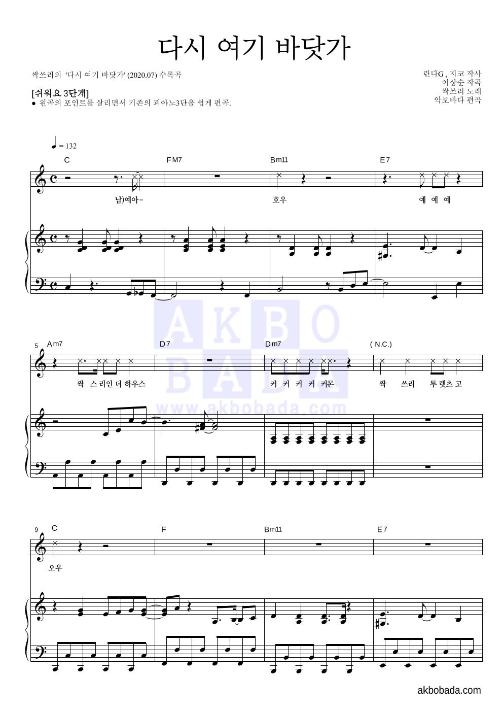 싹쓰리(유재석,비(Rain),이효리) - 다시 여기 바닷가 피아노3단-쉬워요 악보