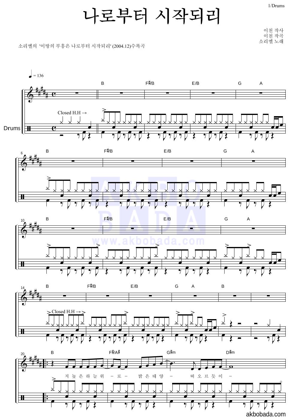 소리엘 - 나로부터 시작되리 드럼 악보