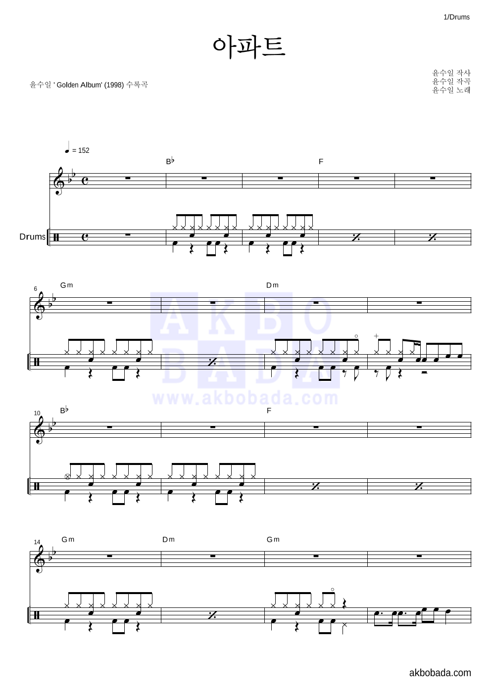 윤수일 - 아파트 드럼 악보