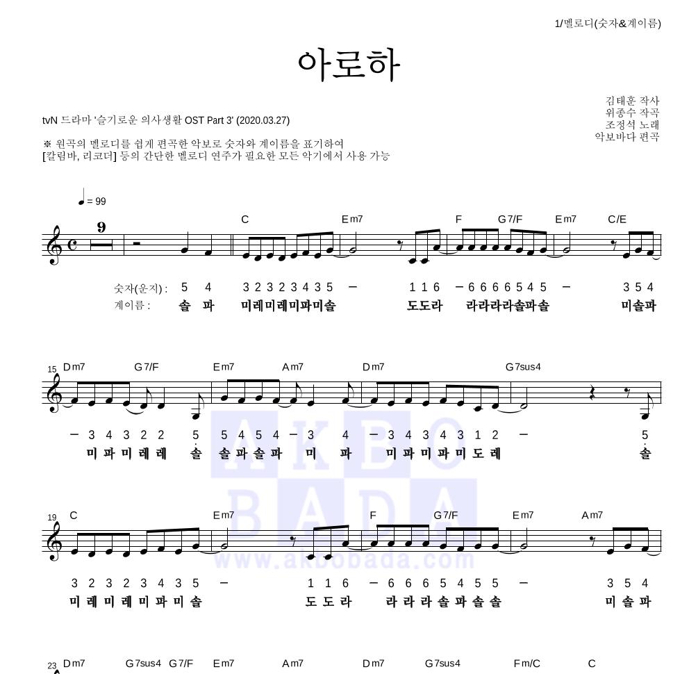 조정석 - 아로하 멜로디-숫자&계이름 악보
