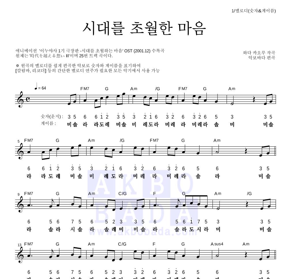 이누야사 OST - 시대를 초월한 마음 멜로디-숫자&계이름 악보