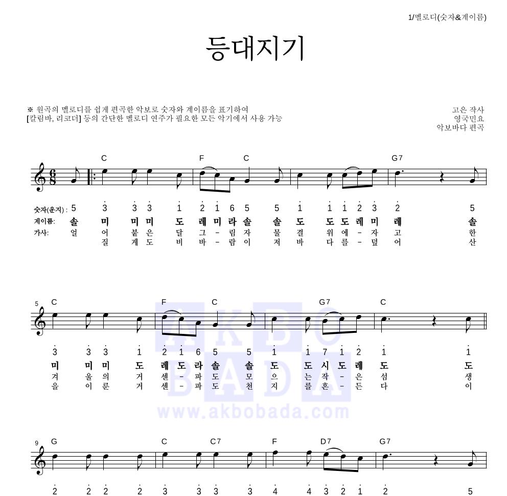 동요 - 등대지기  악보