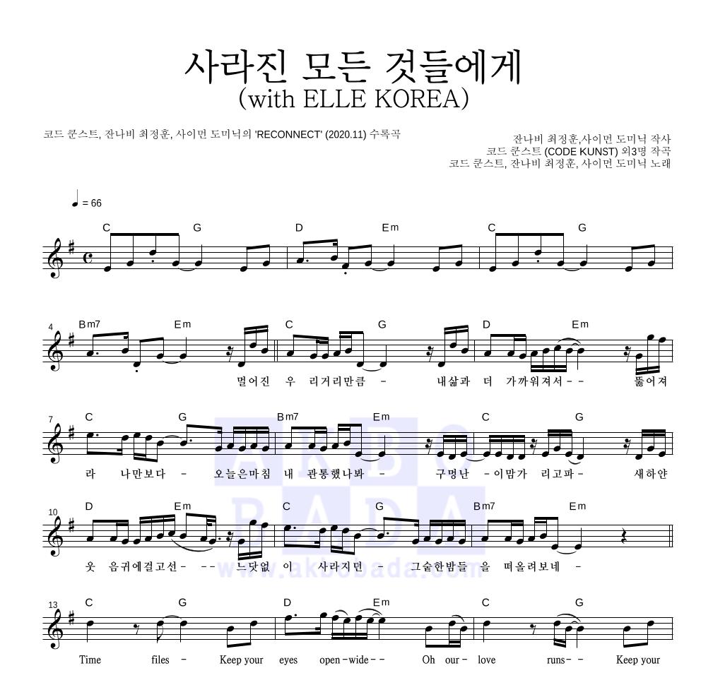 코드 쿤스트,최정훈,사이먼 도미닉 - 사라진 모든 것들에게(with ELLE KOREA)  악보