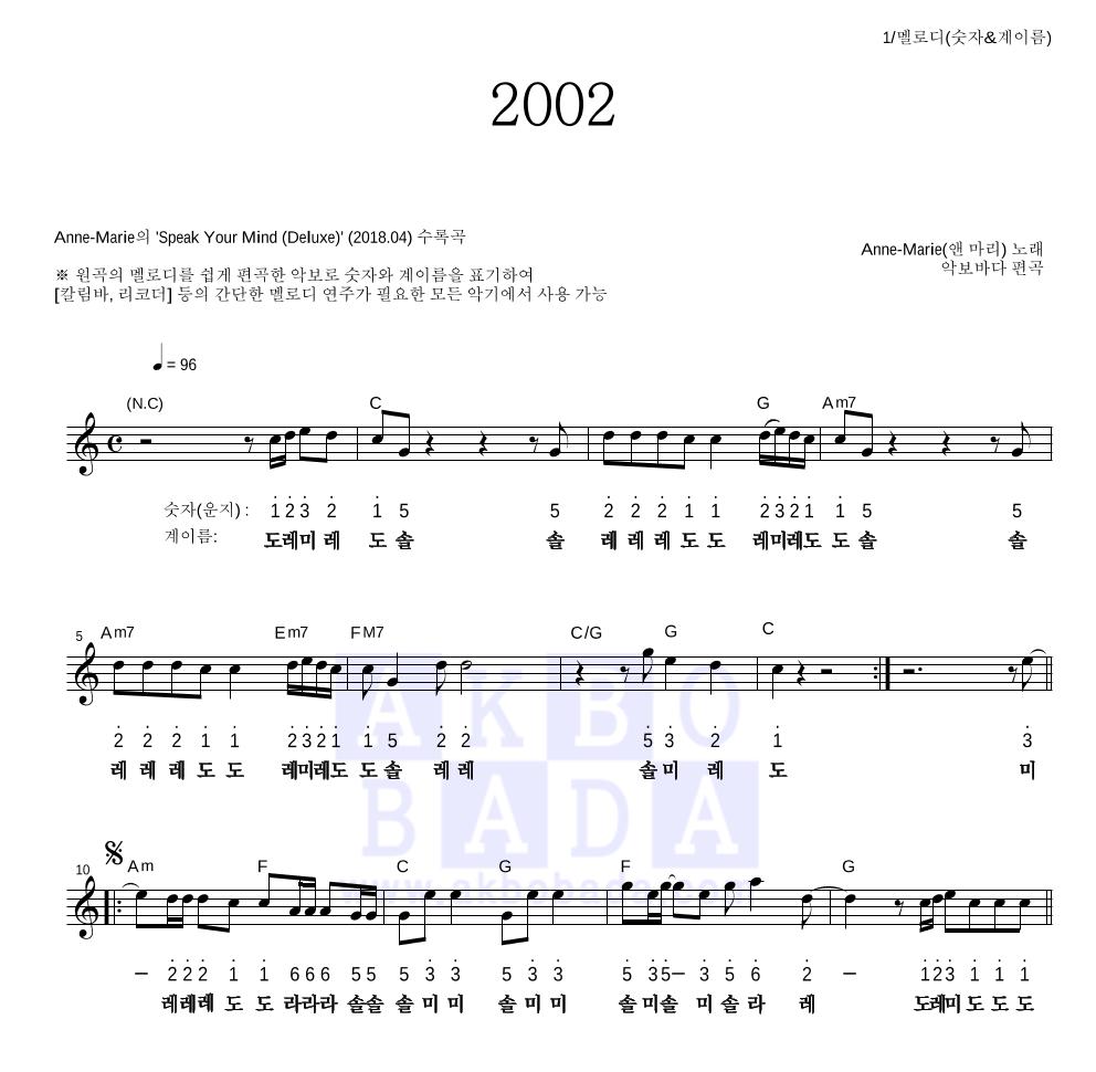 Anne-Marie - 2002 멜로디-숫자&계이름 악보