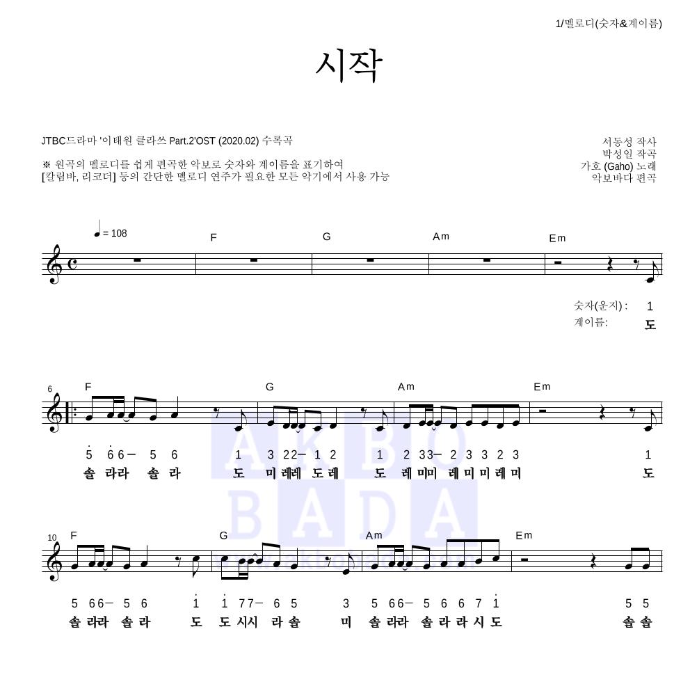 가호 - 시작 멜로디-숫자&계이름 악보