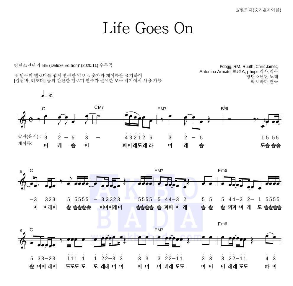방탄소년단 - Life Goes On 멜로디-숫자&계이름 악보
