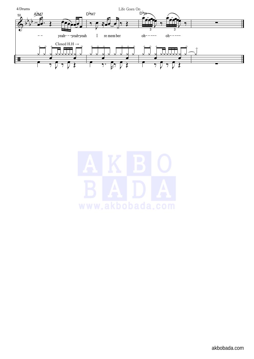 방탄소년단 - Life Goes On 드럼 악보