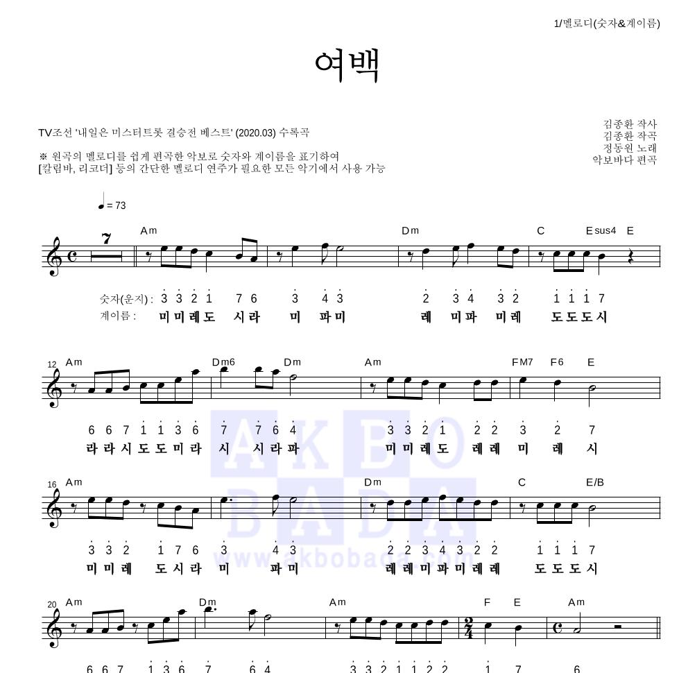 정동원 - 여백 멜로디-숫자&계이름 악보