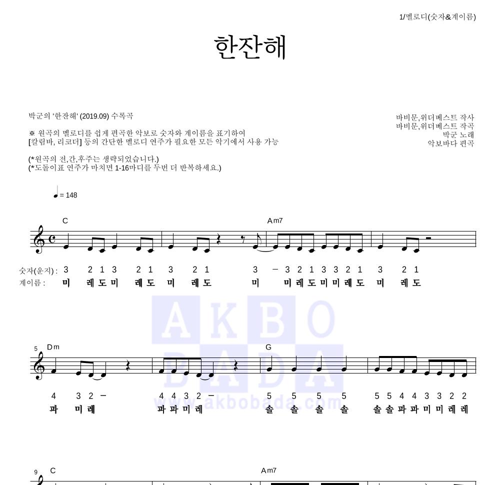 박군 - 한잔해 멜로디-숫자&계이름 악보