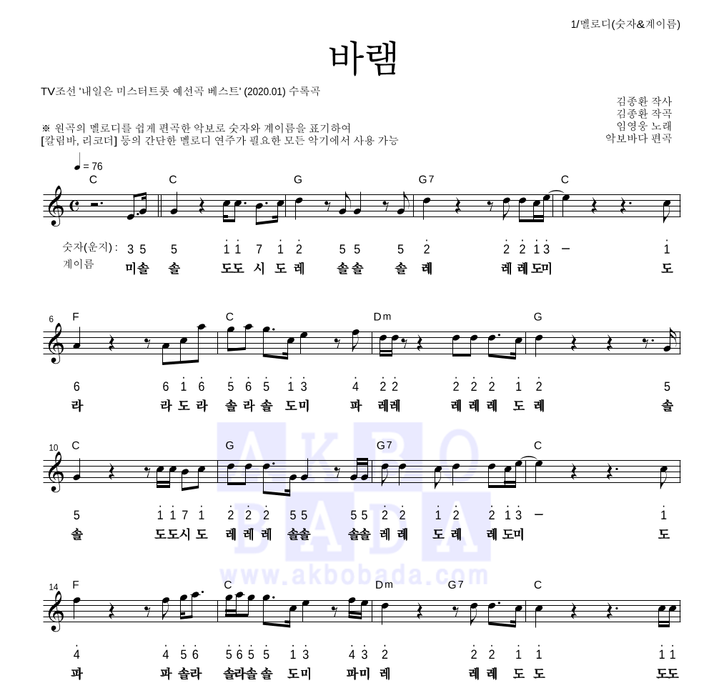임영웅 - 바램 멜로디-숫자&계이름 악보