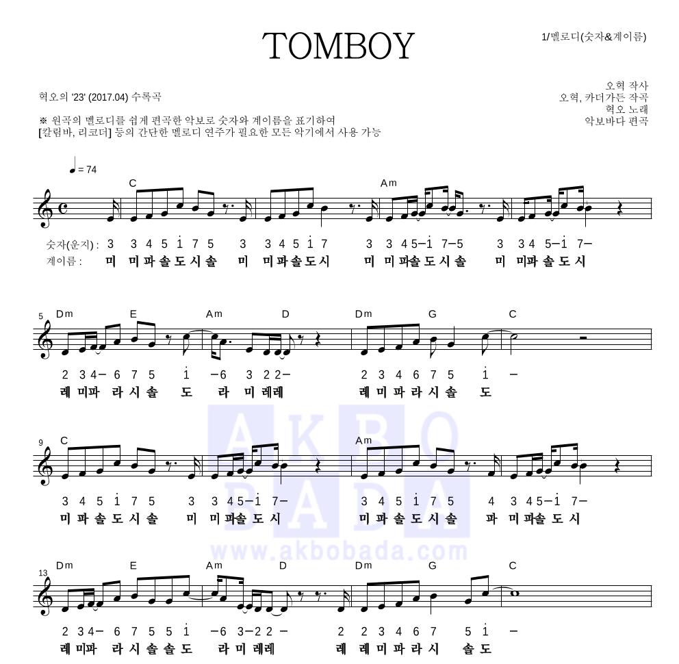 혁오 - TOMBOY 멜로디-숫자&계이름 악보