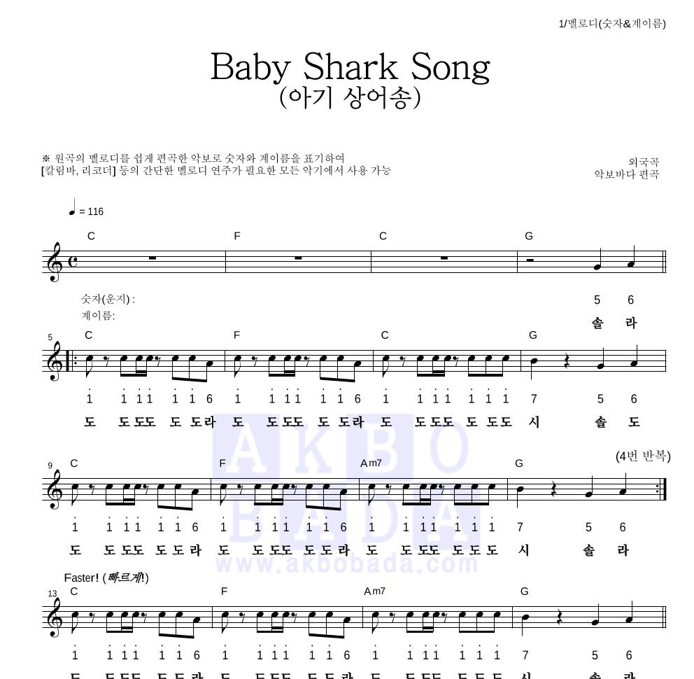 동요 - Baby Shark Song (아기 상어송) 멜로디-숫자&계이름 악보