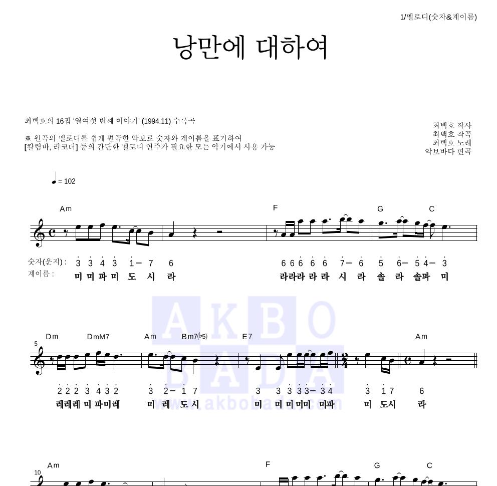 최백호 - 낭만에 대하여 멜로디-숫자&계이름 악보