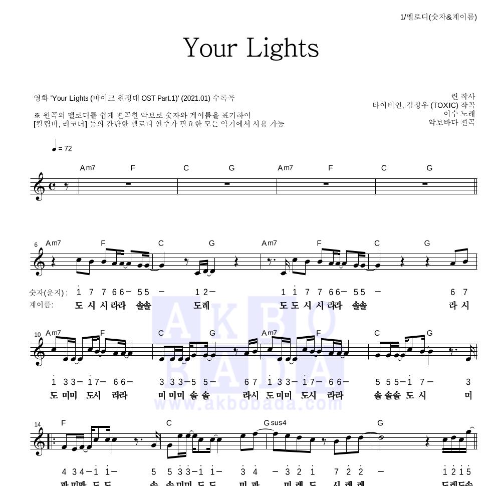 이수(엠씨 더 맥스) - Your Lights 멜로디-숫자&계이름 악보