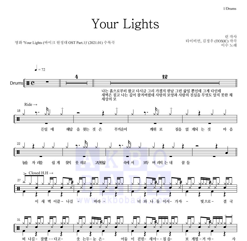 이수(엠씨 더 맥스) - Your Lights 드럼 1단 악보