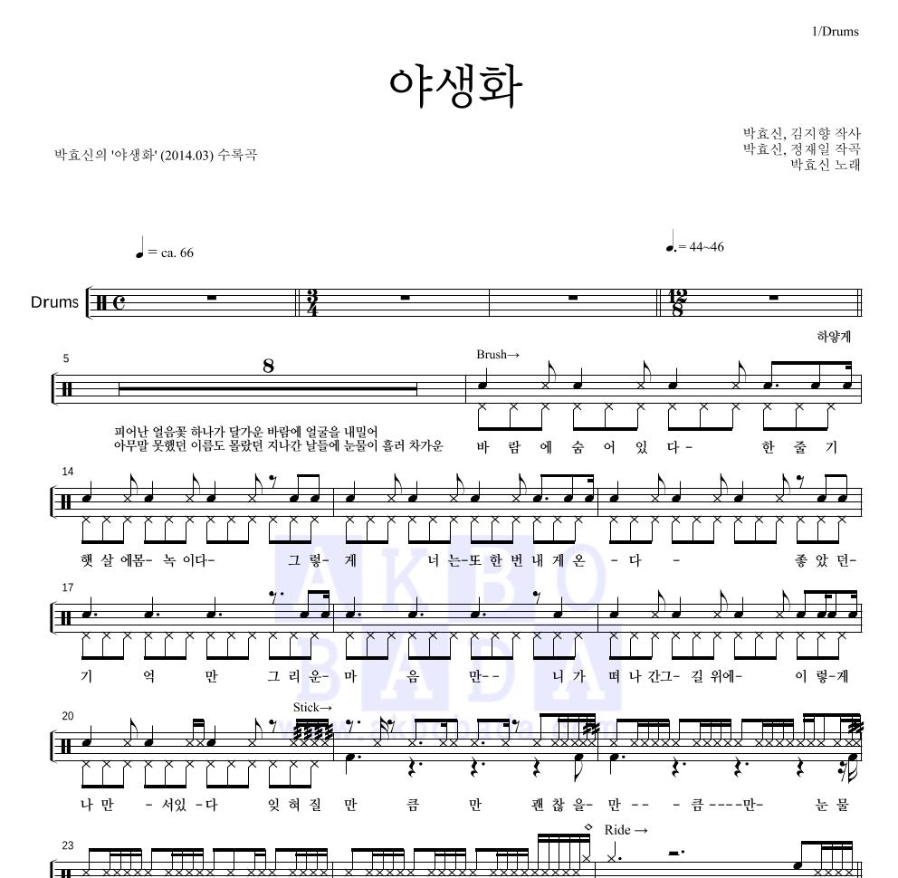 박효신 - 야생화 드럼 1단 악보