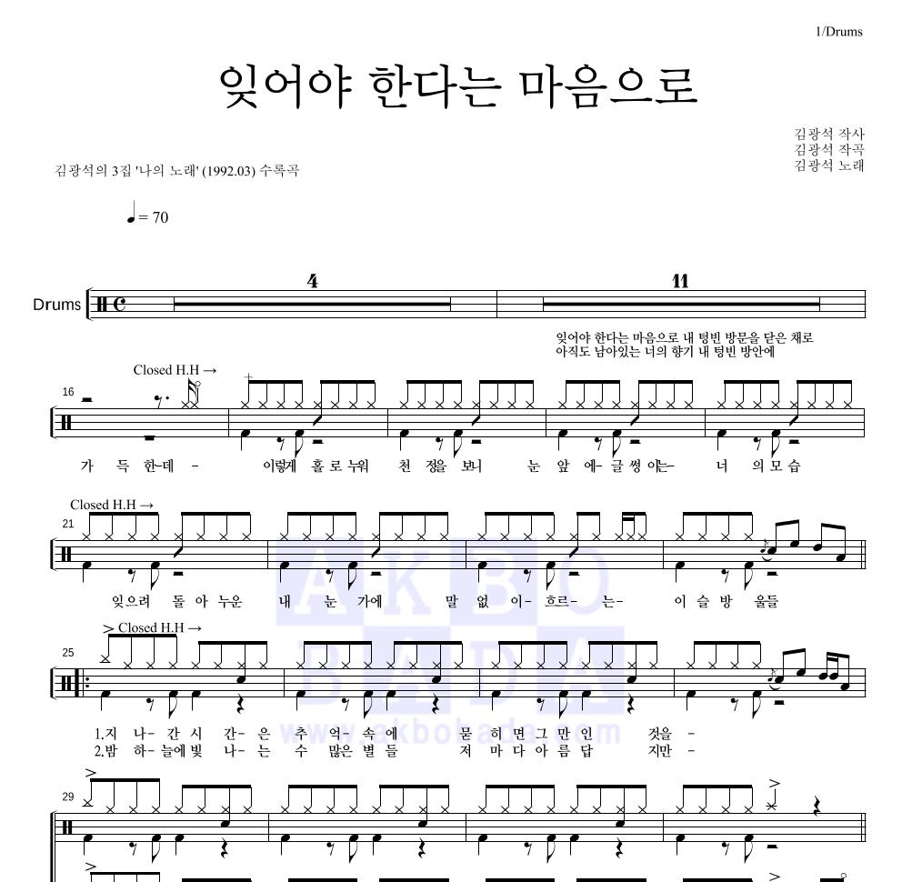 김광석 - 잊어야 한다는 마음으로 드럼 1단 악보