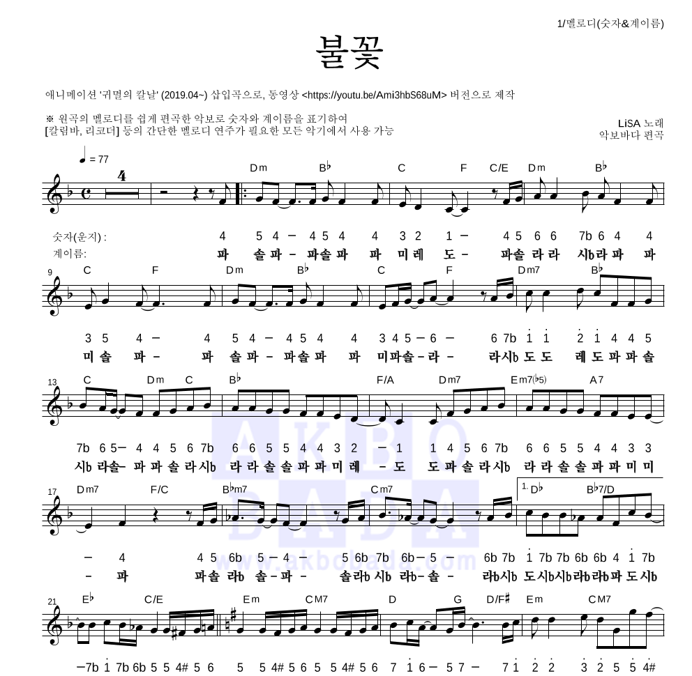 귀멸의 칼날 OST - 불꽃 멜로디-숫자&계이름 악보