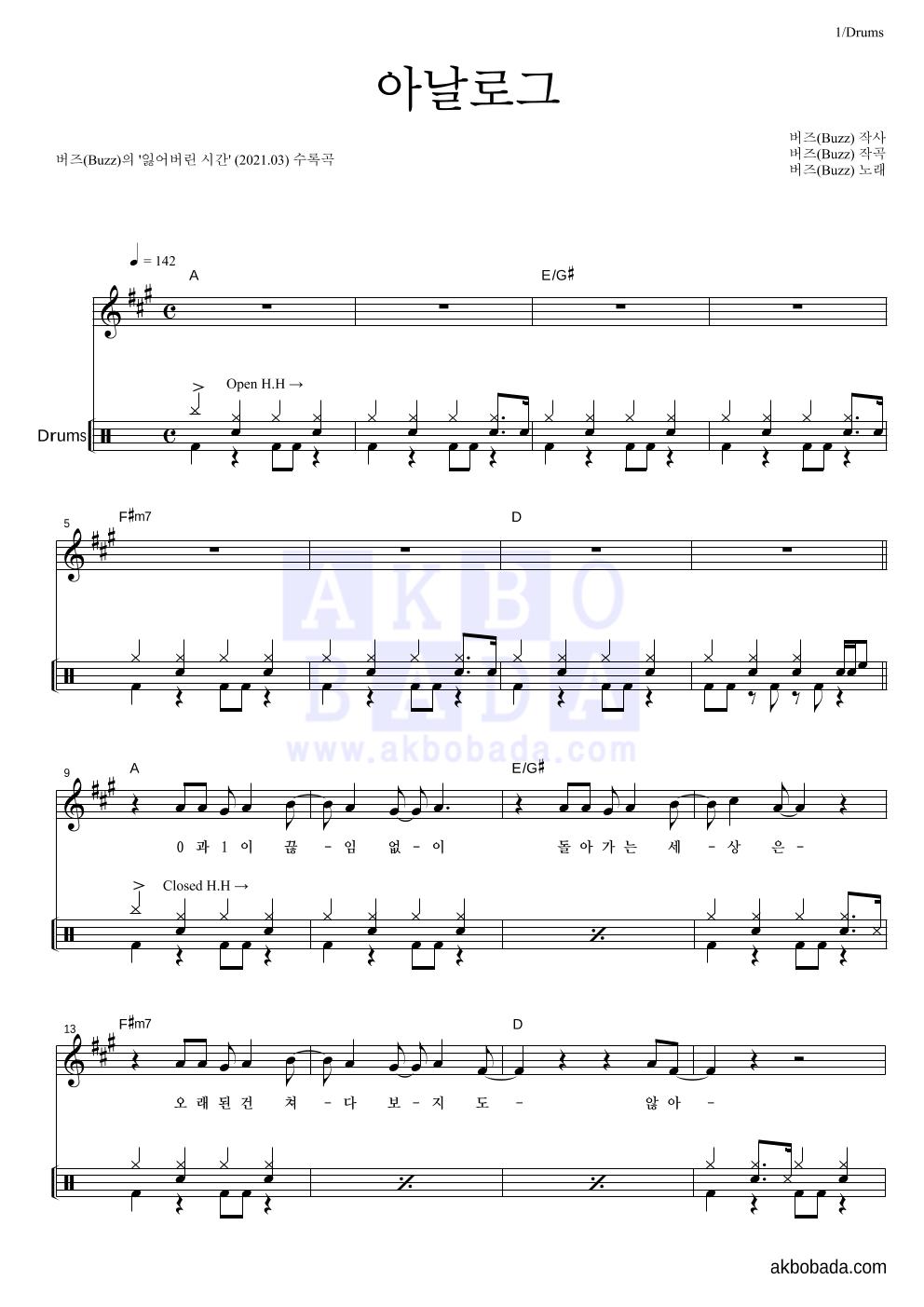 버즈(Buzz) - 아날로그 드럼 악보