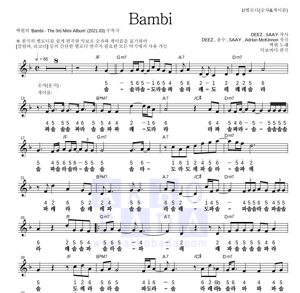 백현 - Bambi 멜로디-숫자&계이름 악보