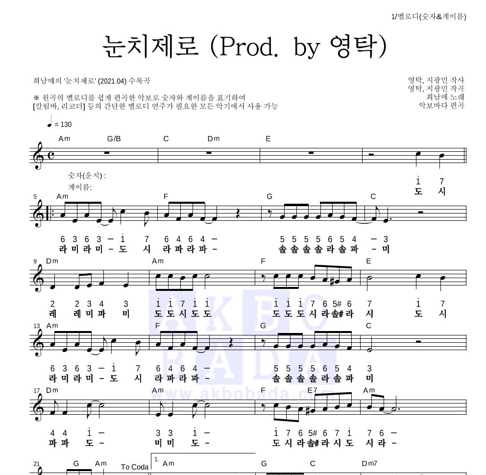 희남매 - 눈치제로 (Prod. by 영탁) 멜로디-숫자&계이름 악보